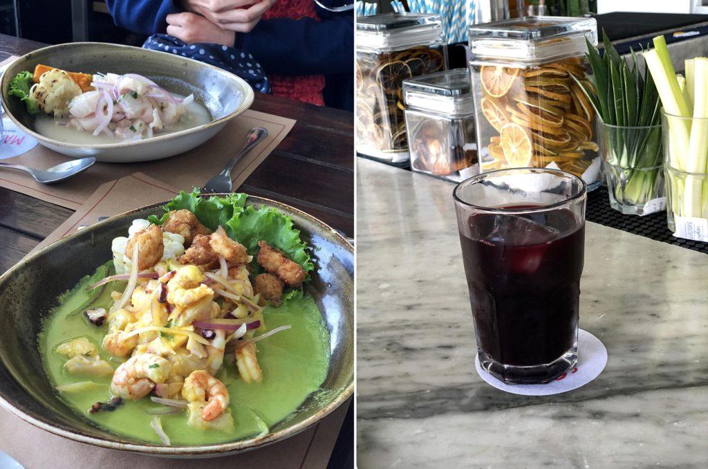Ceviche delicioso do restaurante Mangos e Chicha Morada!